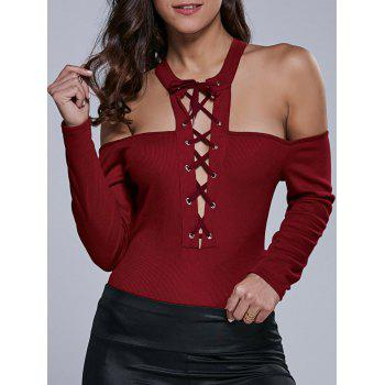 Lace-Up Cold Shoulder Long Sleeve Bodysuit