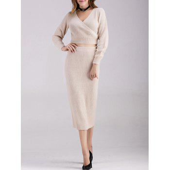 Buy Surplice Crop Top Knitted Skirt APRICOT