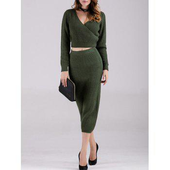 Buy Surplice Crop Top Knitted Skirt ARMY GREEN