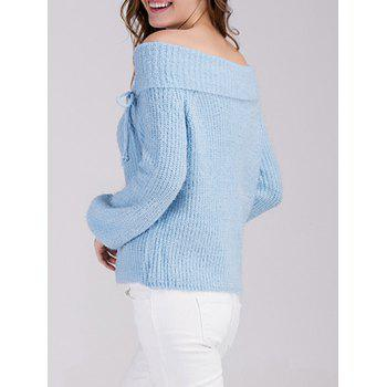 Off The Shoulder Puff Sleeve Sweater - BLUE ONE SIZE