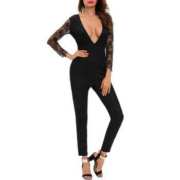 Plunging Neckline Lace Spliced Tight Jumpsuit
