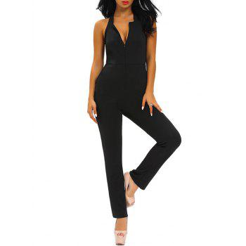 Plunging Neckline Skinny Backless Jumpsuit