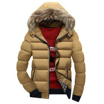 Zipper Up Puffer Jacket with Fur Trim Hood