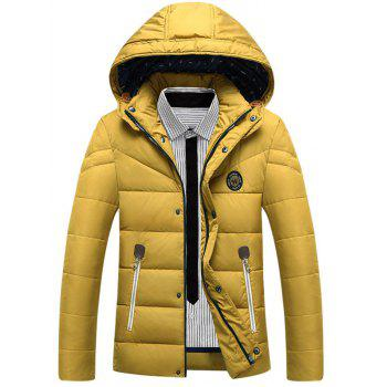 Buy Zipper Patch Design Padded Hooded Jacket YELLOW