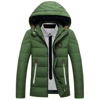 Zipper Up Patch Design Padded Hooded Jacket