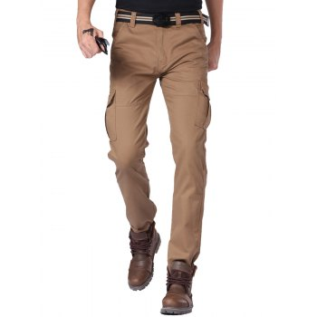 Zipper Fly Slim Fit Cargo Pants with Pockets