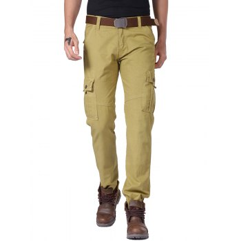 Slimming Cargo Pants with Multi Button Pockets