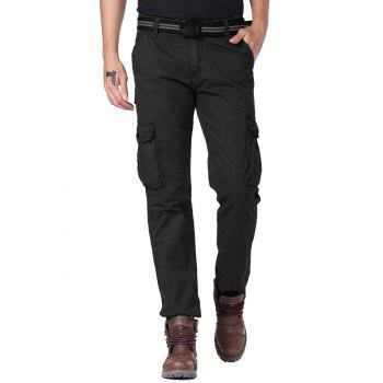 Straight Leg Cargo Pants with Multi Button Pockets