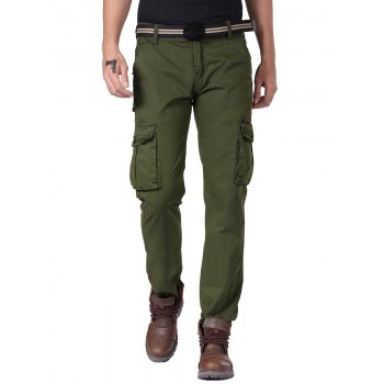 Multi Button Pockets Cargo Pants with Straight Leg
