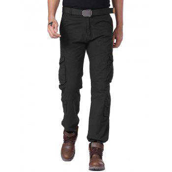 Multi Flap Pockets Drawstring Cuff Straight Cargo Pants