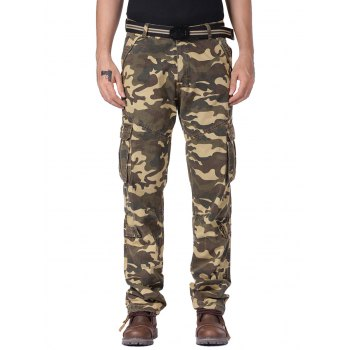 Multi Flap Pockets Drawstring Cuff Camo Cargo Pants