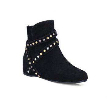 Zip Metal Hidden Wedge Ankle Boots