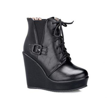 Buckle Elastic Band Tie Up Ankle Boots