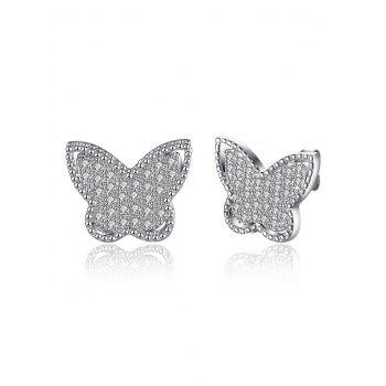 S925 Diamond Butterfly Stud Earrings