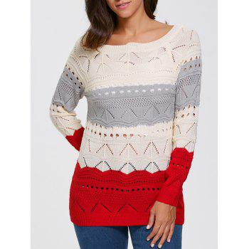 Color Block Hollow Out Sweater