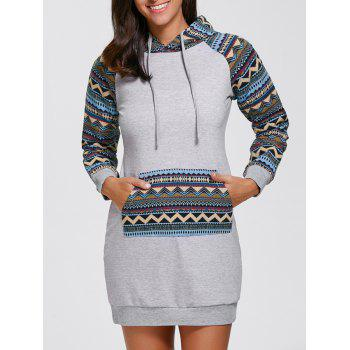 Geometric Long Sleeve Mini Hooded Sweatshirt Dress