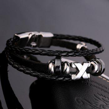 Faux Leather Braid Layered Bracelet - BLACK BLACK