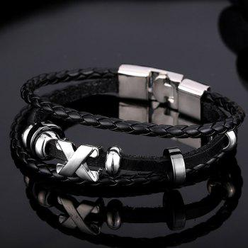 Faux Leather Braid Layered Bracelet -  BLACK
