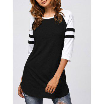 Striped Sleeve Long T-Shirt