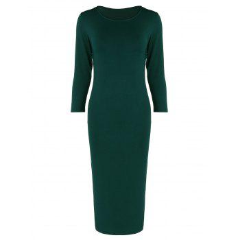 Tea Length Long Sleeve Slim Fitted Dress