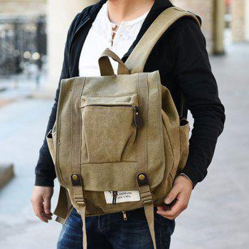 Canvas Pockets Drawstring Backpack