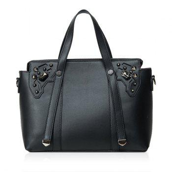 Rivet Embellished PU Leather Handbag