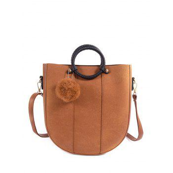 Metal PU Leather Pompon Tote Bag