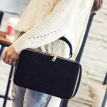 Zippers Chain Argyle Pattern Crossbody Bag