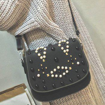 Magnetic Closure Rivets Bead Crossbody Bag
