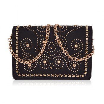 Chains Rivet Suede Panel Crossbody Bag