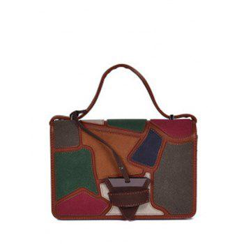 Patchwork Square Shape Colour Splicing Crossbody Bag