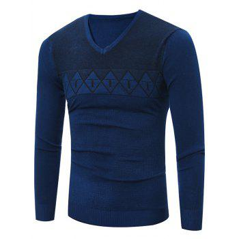 V Neck Rhombus Pattern Flat Kintted Sweater