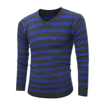 V Neck Flat Kintted Striped Sweater