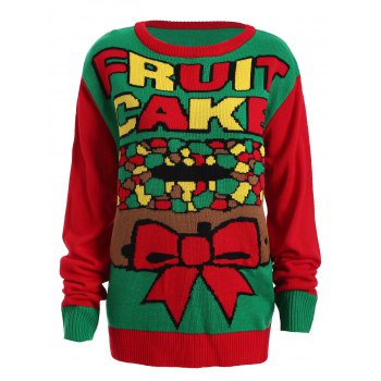 Christmas Fruit Cake Pattern Plus Size Sweater