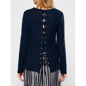 Round Neck Back Lace Up Sweater
