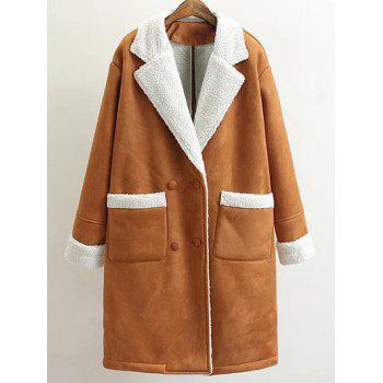 Lapel Collar Faux Shearling Fleeced Peacoat
