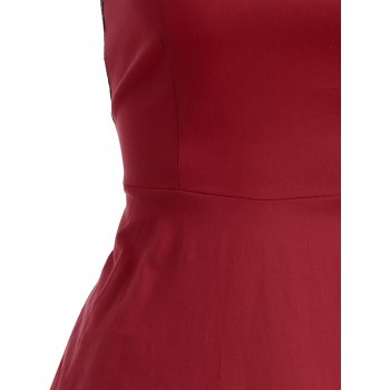 Floral Lace Panel Swing Dress - RED XL