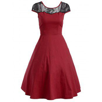 Floral Lace Panel Swing Dress - RED RED
