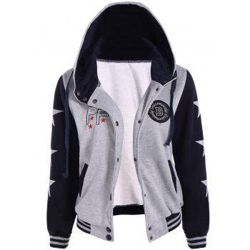 Two Tone Hooded Patched Casual Jacket