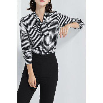 Bow Collar Stripe Blouse