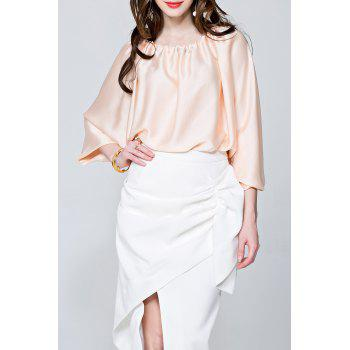 Convertible Slash Neck Satin Blouse