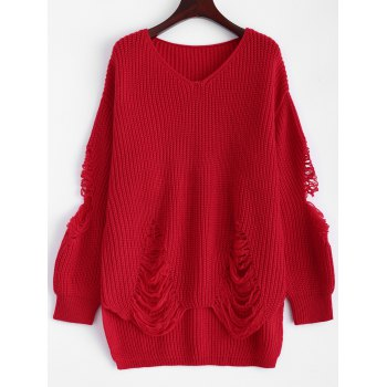 Pullover Ripped V Neck Sweater - RED RED