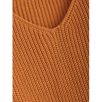 Pullover Ripped V Neck Sweater - EARTHY EARTHY