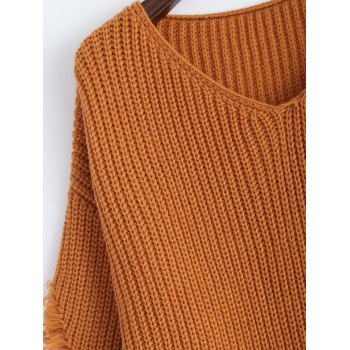 Pullover Ripped V Neck Sweater - M M