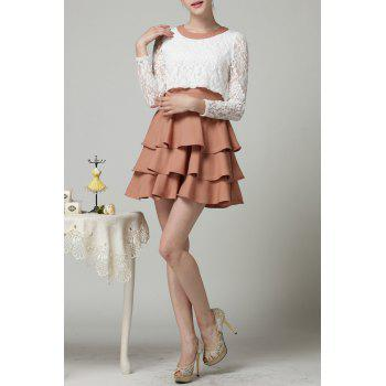 Long Sleeve Tiered Popover Dress - CAMEL S