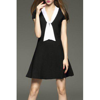 Bow Collar Mini Flare Dress