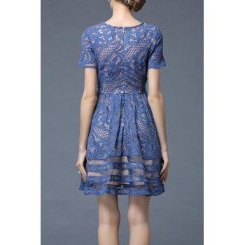 Lace Sheer Swing A Line Dress - Bleu canard 3XL