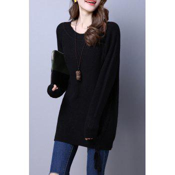Round Neck Lace Up Loose Sweater