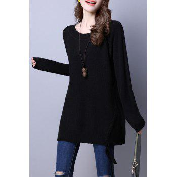 Round Neck Lace Up ample Sweater - Noir ONE SIZE