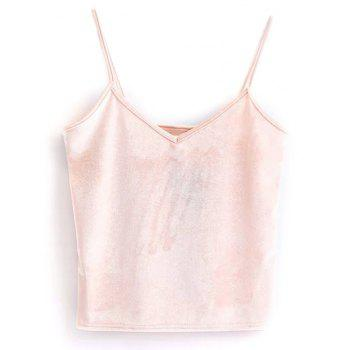 Velvet Cami Cropped Tank Top - PINK ONE SIZE
